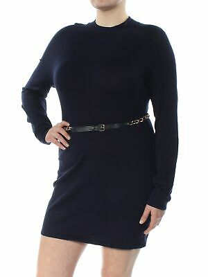 INC $69 Womens Navy Belted Turtle Neck Long Sleeve Sheath Sweater Dress XL B+B