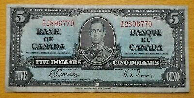 *** 1937  Bank  Of  Canada *** $5,00  Dollars *** Fine + ***