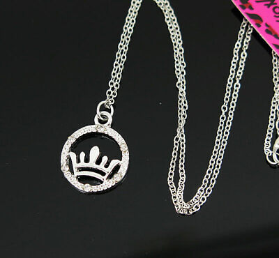 New Pendant Fashion Betsey Johnson Rhinestone Crown Silver Necklace Women Gift