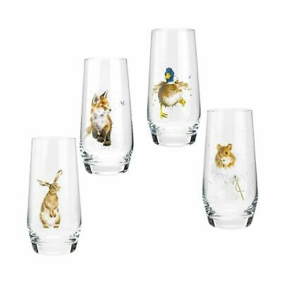 Wrendale Designs  Royal Worcester Country Animals Hi-Ball Glasses Set of 4