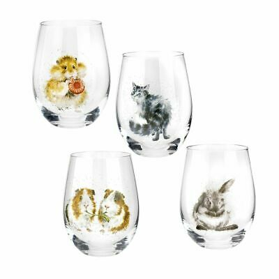 Royal Worcester Wrendale Designs Assorted Domestic Pet Tumblers Set of 4