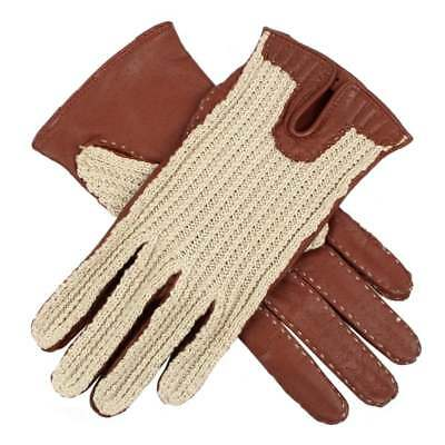 Dents Kelly Ladies Crochet Back Leather Driving Gloves Cognac