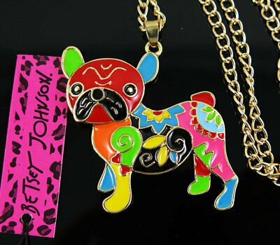 Betsey Johnson Women's MultiColor Enamel Cute Dog Pendant Necklace Sweater Chain