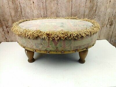 Well Worn Vintage Footstool With Turned Feet &  Tapestry Top 18cm High