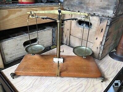 Antique BECKER's SONS Rotterdam Balance Scale Wood Brass Apothecary Pharmacist