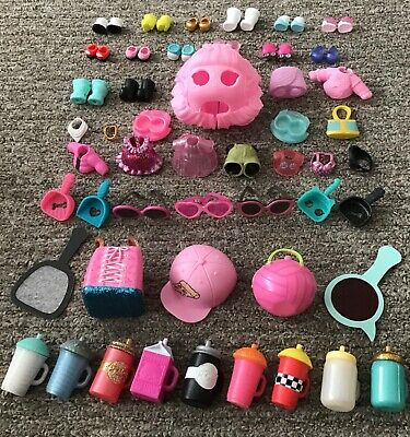 Lol Surprise HUGE Mixed Accessories Bundle x50 Clothes Shoes Dress Glasses Hat