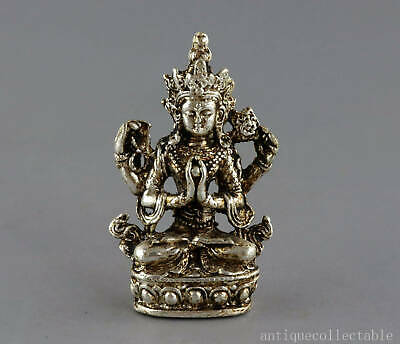 Collect China Old Tibet Silver Hand-Carved Exorcism Bring Luck Buddhism Statue