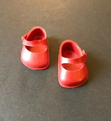 """Vintage 1950's Vogue 8"""" Ginny Doll Dark Red Doll Shoes Made in USA"""