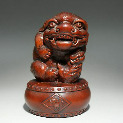 Collectable China Old Boxwood Hand-Carve Myth Lion Moral Auspicious Decor Statue