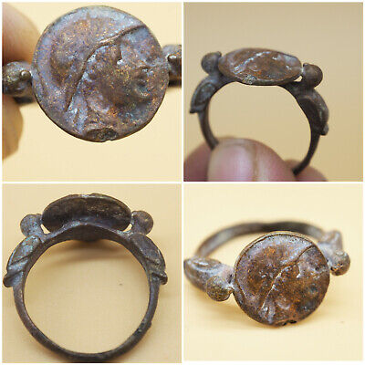 Wonderful Unique Rare Ancient Roman Bronze With Two Bird Ring #A464
