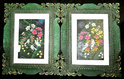 Two Antique Balinese Batuan Paintings in Hand Carved Gold Gilded Wood Frames