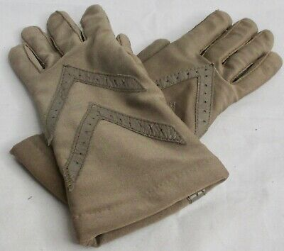 Vintage Gloves Isotoner Warm Ups by Aris Taupe on Brown Leather Accents One SZ