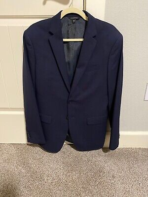 40R Banana Republic Navy Italian Wool Mens Suit 32x32 Slim Fitted.