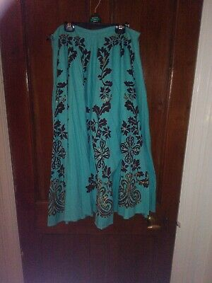Vintage M&S Turquoise Blue And Brown And Sequin Skirt Size 12
