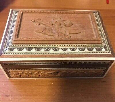 VIntage Indian Jewelry Trinket Wooden Box Hand Carved Wood Inlay