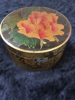 Round Chinese Laquer Box Flowers