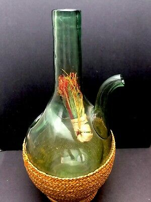"Antique  Green Glass Wine Bottle in Basket 9"" Inch Tall Vintage"