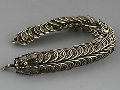 Collectable Tibet Silver Hand Carve Myth Dragon Exorcism Lucky Amulet Bracelet