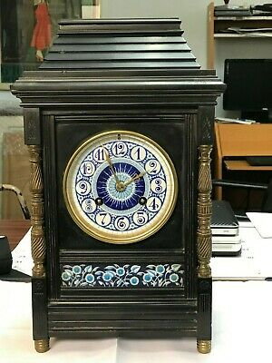 Antique   Mantle Clock  FRENCH 1880  Cast Iron 8 DAY MOVEMENT TING- TANG STRIKE