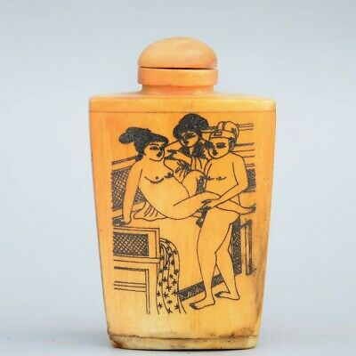 Collectable China Old 0x B0ne Hand-Carved Couple Life Unique Noble Snuff Bottle