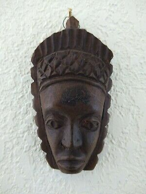 SMALL Hand Carved Wooden Tribal Face Mask Sculpture Art Wall Hanging