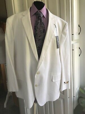 NWT Mens Stafford White Linen Portly Fit Sport Suit Blazer Jacket Sz:52 R