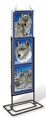 """Amia Stained Glass 4.5"""" X 16"""" Wolf Wolves Pack  Window Panel #41739"""