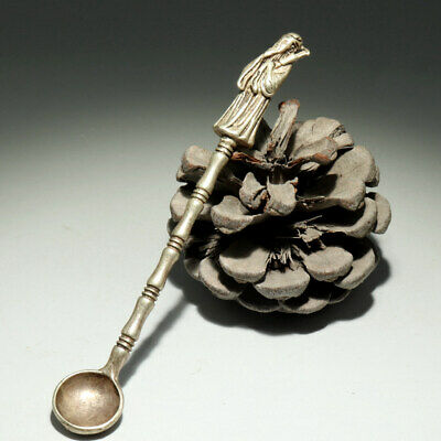 Collectable China Old Miao Silver Hand-Carved Immortal Moral Auspicious Spoon