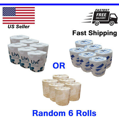 6 Rolls Bathroom Toilet Paper Soft White 2-Ply - Fast Shipping