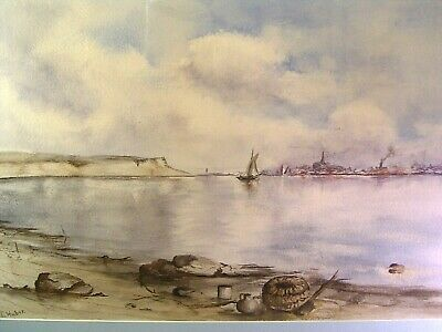 Antique Coastal Seascape Painting Watercolor Signed