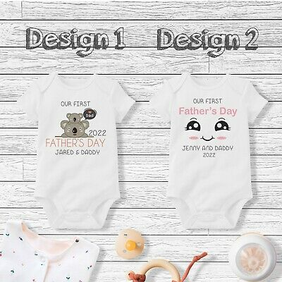 Personalised Our First Father/'s Day Baby Grow Vest Bodysuit Cute Elephants
