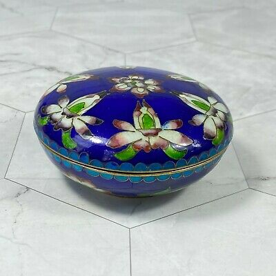 Antique Chinese Cloisonne Circular Box and Cover
