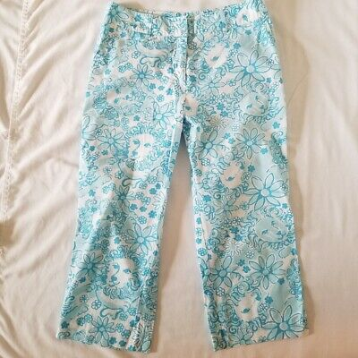 Lilly Pulitzer Cropped Pants Capris Blue White Tag Label Smiling Lions 8