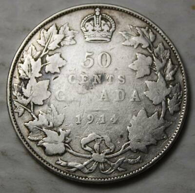 Canada 1914 Silver 50 Cents, Better Old Date KGV