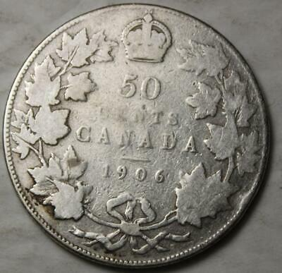 Canada 1906 Silver 50 Cents, Old Date King Edward VII