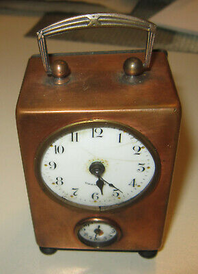 Antique German tiny cute carriage brass clock unusual with dual dial