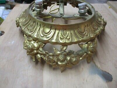 Antique Vintage Ornate Cast Iron Ceiling Light Fixture FLORAL ART NOUVEAU