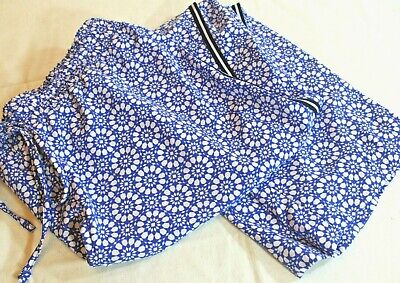 TALBOTS Woman Petites 2X P Bright BLUE White Stretch Silky Athleisure PANTS