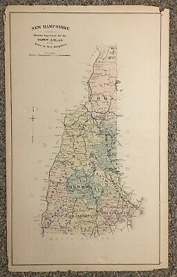 New Hampshire Antique Hand Colored State Map 17X28 Circa 1892 Town Atlas Map