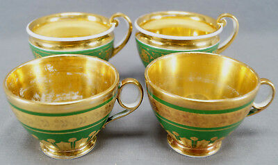 Lot of 4 Old Paris Porcelain Hand Painted Green & Gold Tea Cups C. 1830s AS IS