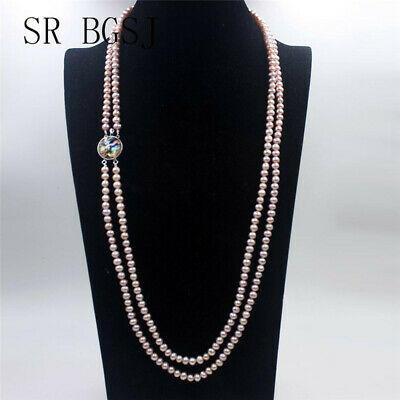 2-Row 6-7mm Round Purple Freshwater Pearl Abalone Clasp Bracelet Necklace Set