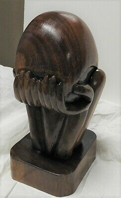 "Vintage MCM Wooden Sculpture ""Man in Sorrow"" Head in Hands Large 12"" Bust"