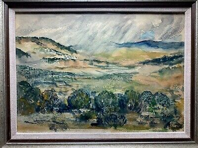 1954 Modernist Santa Fe HARLAN LIZER WATERCOLOR NEW MEXICO LANDSCAPE Painting