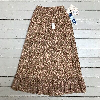 VTG 1970s Kids Girls Her Majesty Quilted Skirt Ruffle NWT Paisley Prairie Boho 7