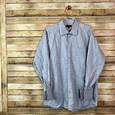 Ben Sherman Button Down Shirt Mens Casual Dress Shirt Size 17 32-33 Gray Blue