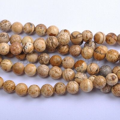 40Pcs Natural Picture Stone Gemstone Round Spacer Loose Beads 4MM #15