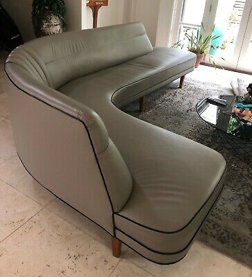 Rosando Kidney-Shaped Couch Circa 1960s - Re-upholstered in Leather