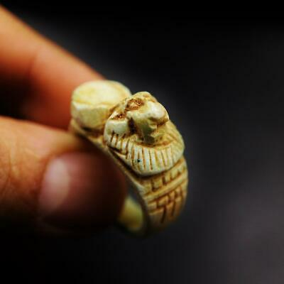 Rare Antique Stone Ring with Lion God Maahes Amulet of Ancient Egyptian