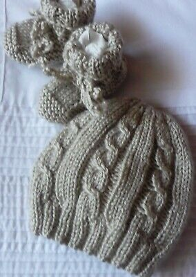 Beanie & Booties Set. Soft. Cable Pattern. Beige.hand-Knitted By Me