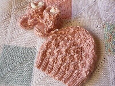 Beanie & Booties Set, Girl Baby, Powder Pink, Hand-Knitted By Me. Great Gift.